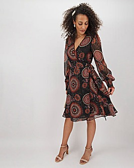 Print Wrap Midi Dress with Shirred Cuffs