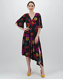 Black Floral Asymmetric Hem Dress