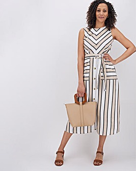 Stripe Button Skirt Dress