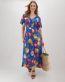 Blue Floral Lace Trim Crinkle Maxi Dress