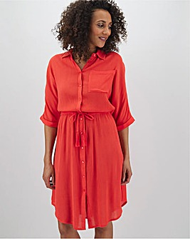 Crinkle Tie Waist Shirt Dress