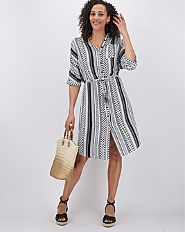 Stripe Crinkle Tie Waist Shirt Dress