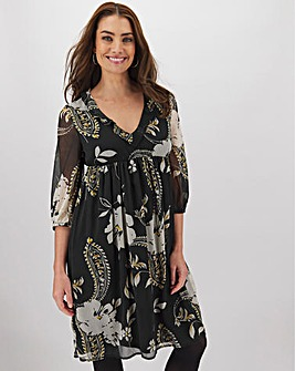 Paisley Print Frill Detail Smock Dress