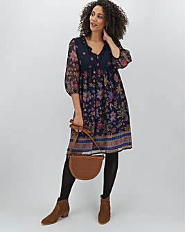 Border Print Frill Detail Smock Dress