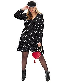 Mono Spot Wrap Skater Dress