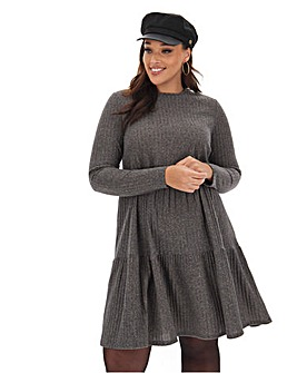 Grey Ribbed Smock Dress