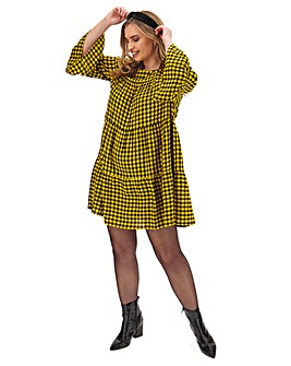 Yellow Check Smock Dress