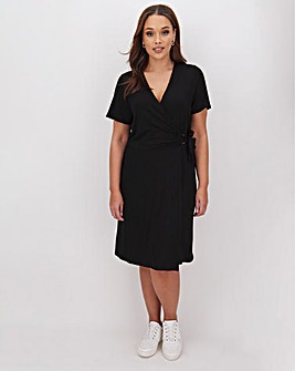 Black Wrap O Ring Skater Dress