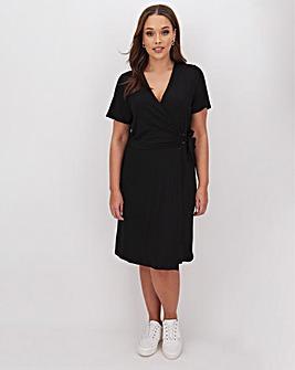 Black Wrap O Ring Skater Dress