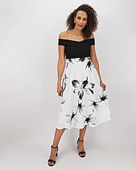 Ivory Print Skirt Skater Dress
