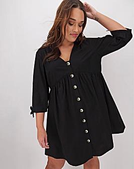 Cotton Poplin Button Smock Dress