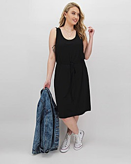 Black Knee Length Vest Dress