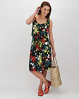 Black Floral Knee Length Vest Dress