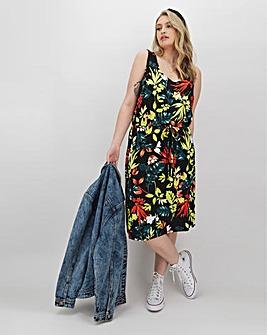Black Floral Knee Length Vest Dress