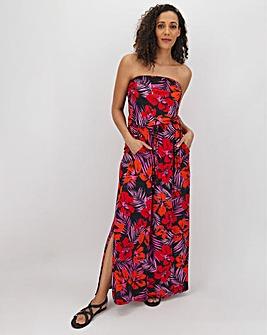 Pink Floral Bandeau Maxi Dress