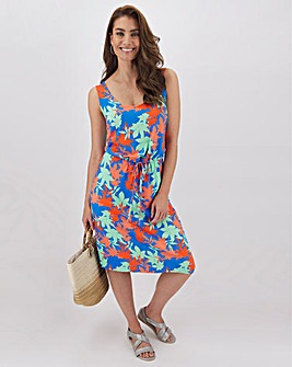 Turquoise Floral Knee Length Vest Dress