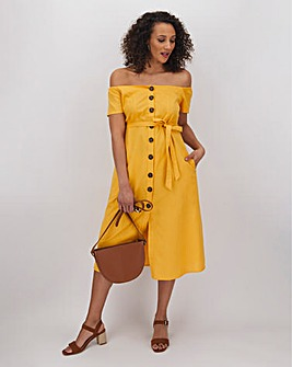 Ochre Linen Bardot Midi Dress