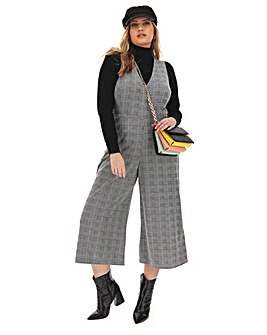 Mono Check Cropped Culotte Jumpsuit