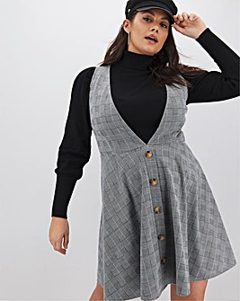 Mono Check Deep V Pinafore Dress