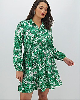 Floral Print Shirt Skater Dress