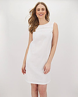 White Crochet Trim Linen Shift Dress
