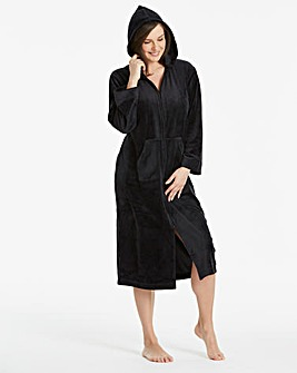 Pretty Secrets Velour Zip Black Gown