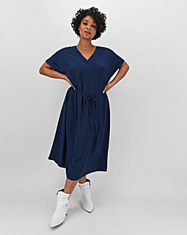 Indigo Blue V Neck Midi Dress