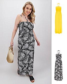 2 Pack Shirred Bandeau Maxi Dresses