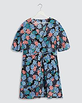 Floral Puff Sleeve Wrap Skater Dress