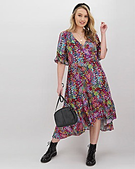 Ditsy Button Through Wrap Midi Dress