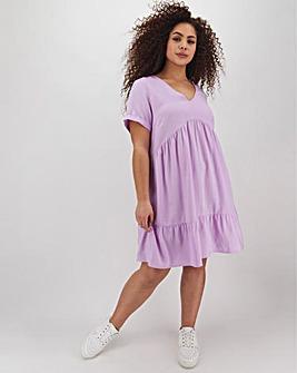 Lilac Linen Smock Dress