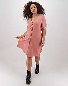 Dusky Pink Button Through Skater Dress