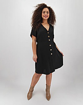 Button Through Linen Skater Dress