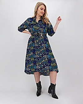 Floral Print Long Hi Low Hem Shirt Dress