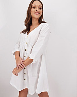 Cotton Poplin Button Smock Dress