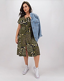 Ditsy Floral Button Through Midi Dress