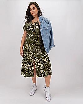 Ditsy Floral Button Through Midi Dress