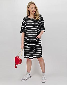 Mono Stripe Jersey T-Shirt Dress