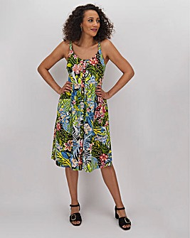 Tropical Poplin Button Through Sundress