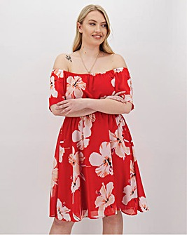 Red Floral Bardot Dress
