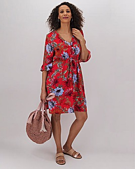 Red Floral Tie Waist Tea Dress