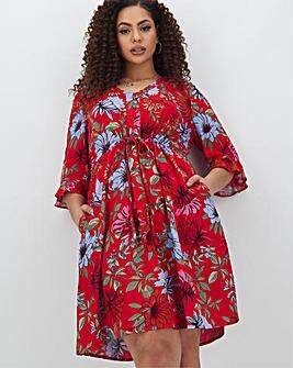 Red Floral Tie Waist Tea Dress