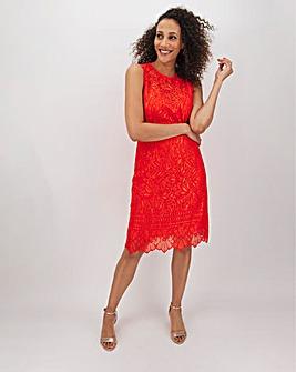 Orange Border Lace Shift Dress
