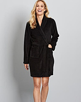 Pretty Secrets Fleece Wrap Black Gown