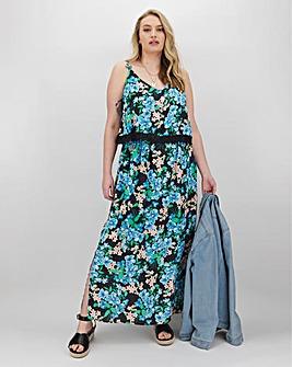 Black Floral Lace Trim Layer Maxi Dress