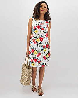 Tropical Crochet Trim Linen Shift Dress