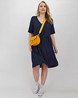 Navy Crochet Trim Swing Dress