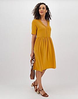 Ochre Crochet Trim Swing Dress