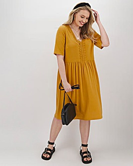 Ochre Crochet Trim Swing Dress