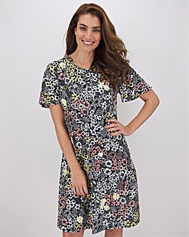 Black Floral Short Sleeve Swing Dress